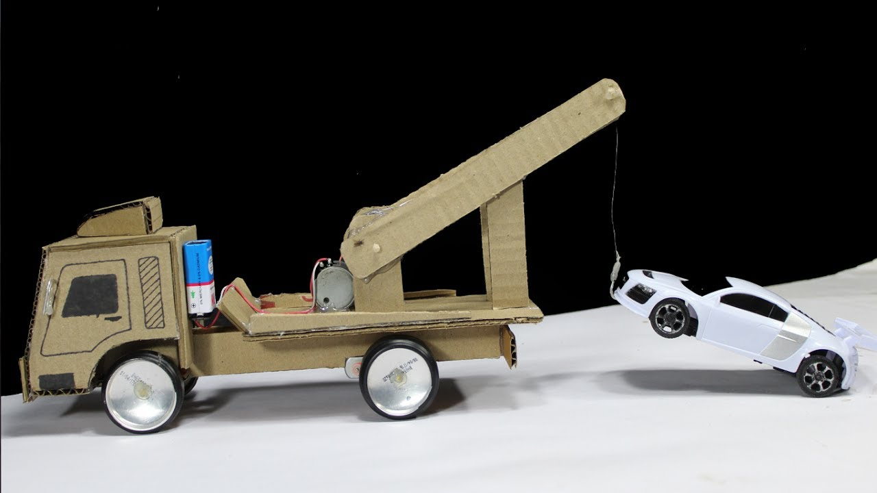 How to make a crane truck from cardboard at home youtube for Make a crane