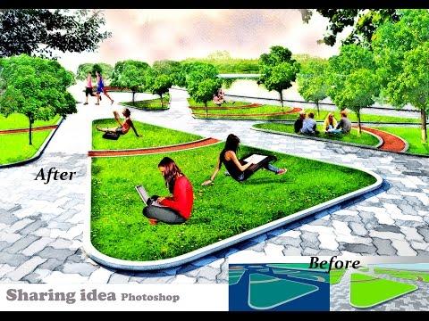 Photoshop landscape architecture rendering