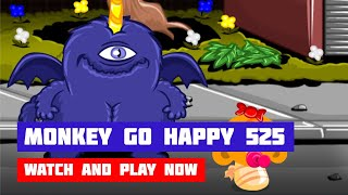 Monkey GO Happy: Stage 525 — Purple People Eater · Game · Walkthrough