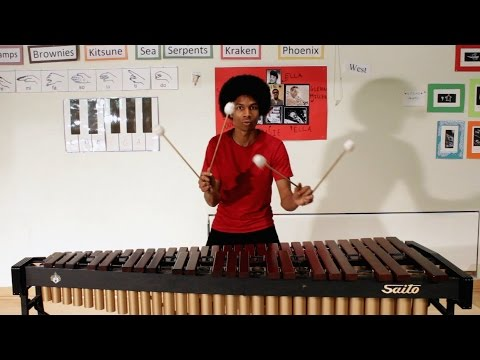 Super Mario Bros. on Marimba (with 4 Mallets) by Aaron Grooves