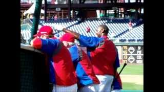 Utley, Howard and  Rollins at Batting Practice