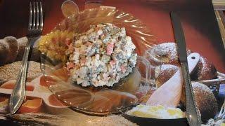 Салат из шампиньонов и крабовых палочек