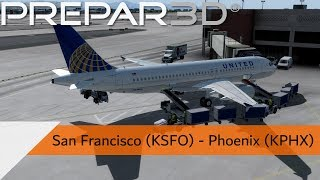 P3D V4.3 Full Flight - United A320 - San Francisco to Phoenix (KSFO-KPHX)