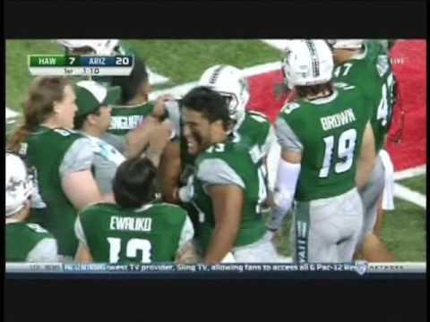 Ikaika Woolsey 15-yard touchdown pass to John Ursua Hawaii vs. Arizona 2016