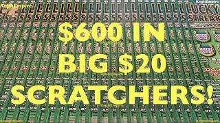 $600 IN LUCKY STREAK SCRATCHERS ENTIRE ROLL!! WINNING! $20 California Lottery Scratcher