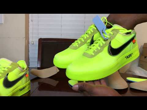 Nike Air Force One Volt  Off-White real vs fake Review