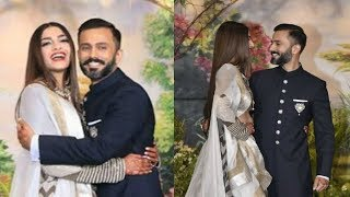 Sonam Kapoor And Anand Ahuja Cute Romance At Wedding Reception