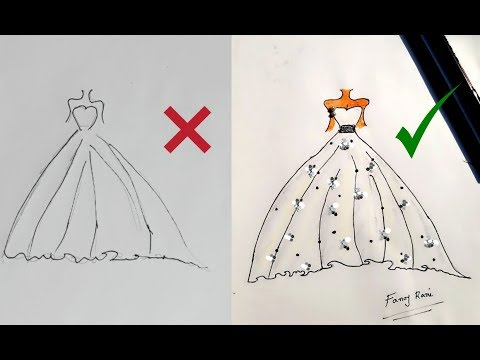 Fashion Designing Art For Beginners How To Draw A Dress Easily Youtube