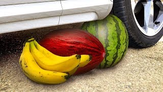 Crushing Crunchy & Soft Things by Car! - EXPERIMENT: FRUITS vs CAR vs FOOD