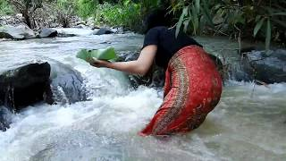 Primitive Technology - grilled Snail at river - cooking Snail eating delicious 05
