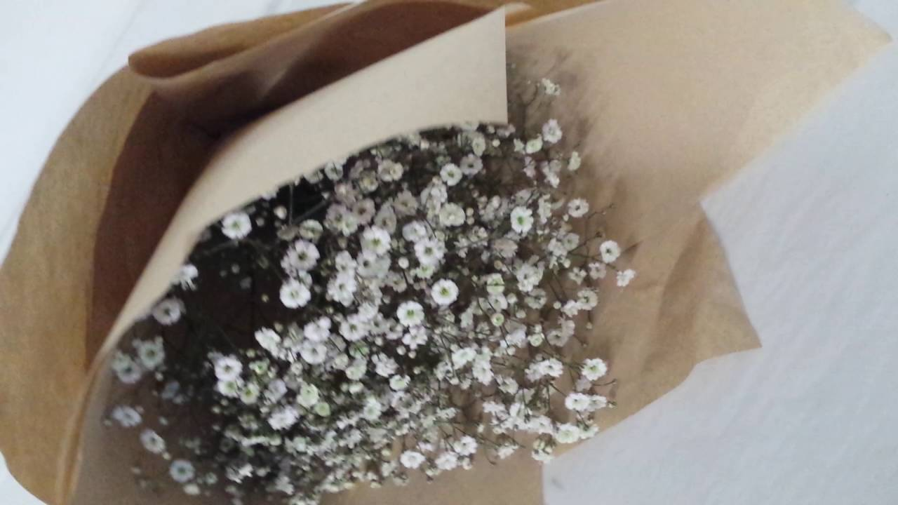 Babys Breath Flower Bouquet With Brown Paper Wrapping Youtube