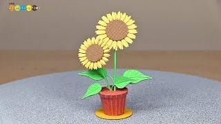miniature paper craft sunflower みにちゅあーとプチ ヒマワリ作り