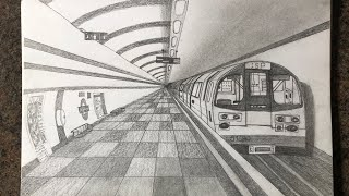 How to draw subway in 1-point perspective