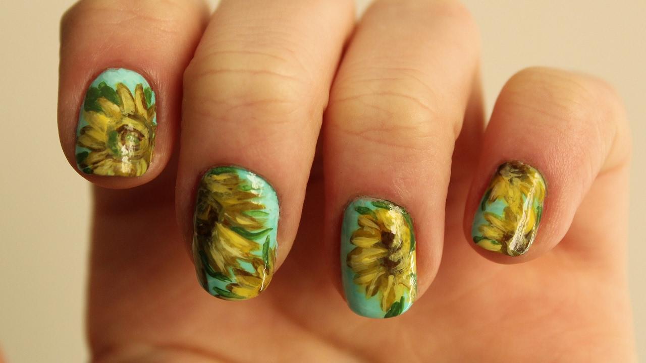 Van Gogh Sunflowers Nail Art