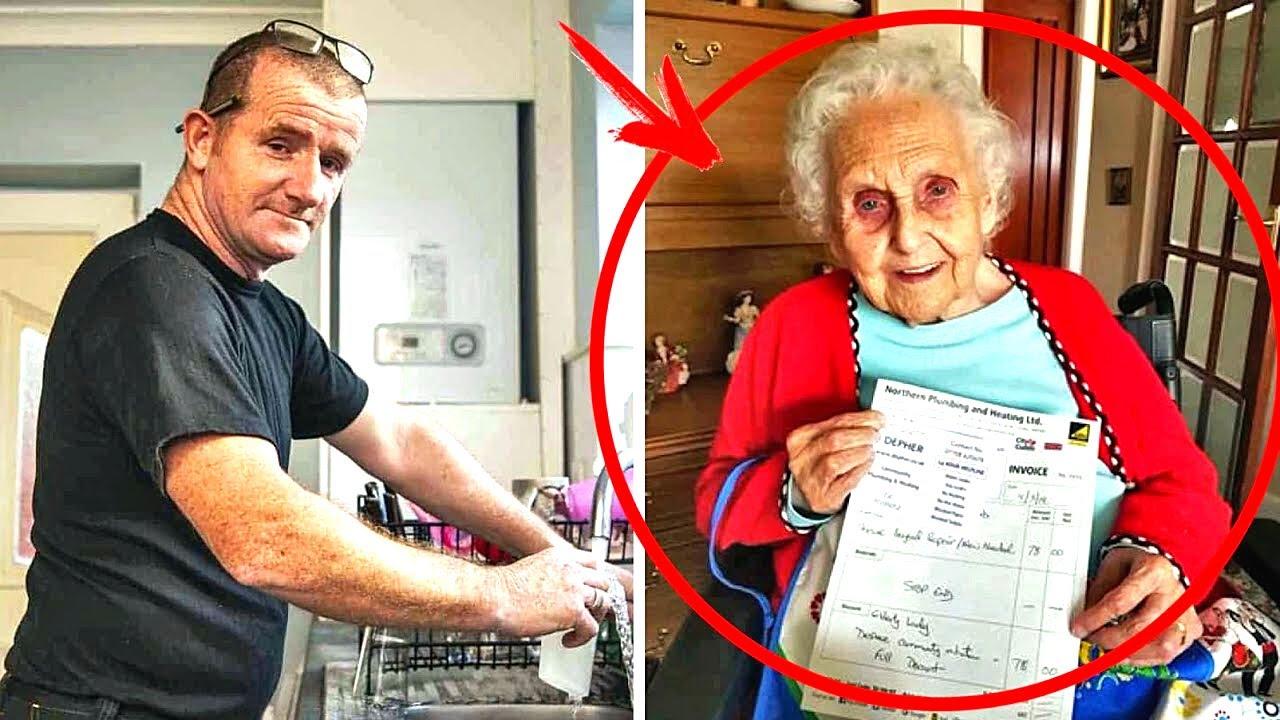 سباك يكتب فاتورة لجدة تبلغ من العمر91 عاما ، مما جعلها تبكي هي وحفيدتها والسبب ..!!