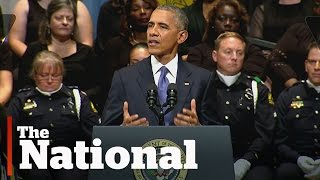 Barack Obama speaks at memorial for slain Dallas police officers