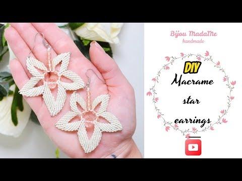 DIY macrame star earrings   Macrame earrings tutorial   Easy earrings ideas
