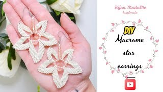DIY macrame star earrings | Macrame earrings tutorial | Easy earrings ideas
