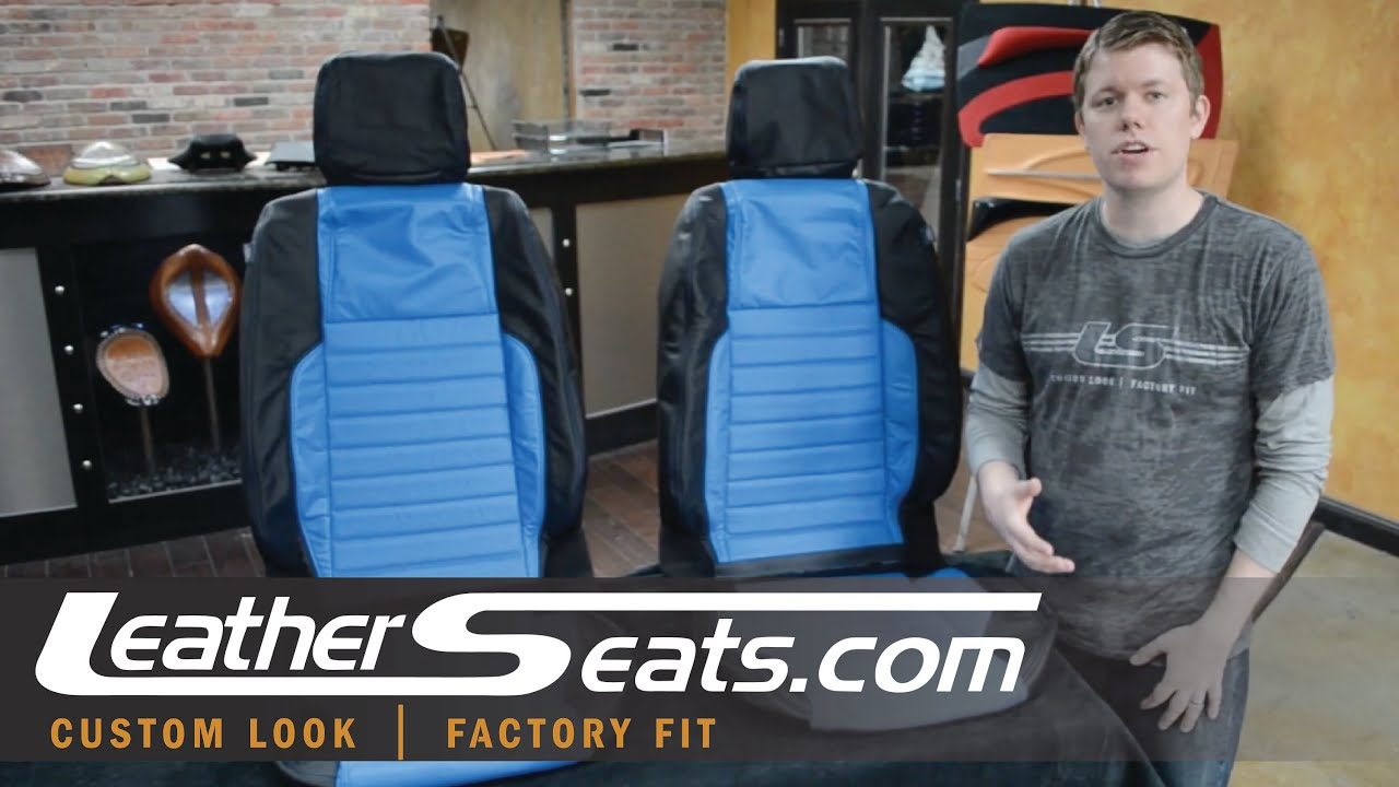 ford mustang grabber blue custom leather seat cover conversion