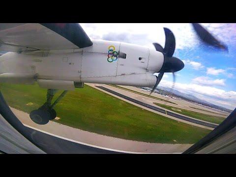 Olympic Q400 Flight OA412 | Athens - Kefalonia | FULL Flight | GoPro Wing, Engine View