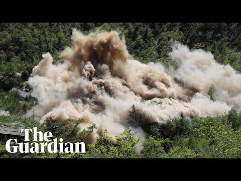 朝鲜炸毁核试验场视频曝光 场面壮观