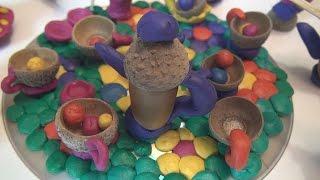 Как сделать осеннюю поделку Посудка из пластилина и желудей