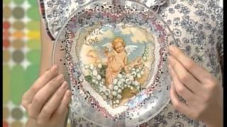 Оформление тарелки Обратный декупаж и золочение