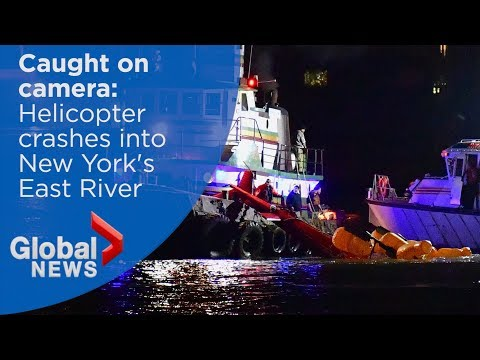 Video captures moment helicopter crashes in New York's East River