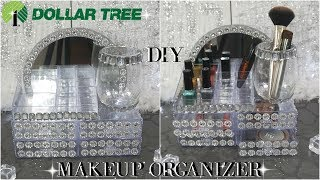 DOLLAR TREE DIY GLAM MIRROR MAKEUP ORGANIZER TUTORIAL | DIY ROOM DECOR