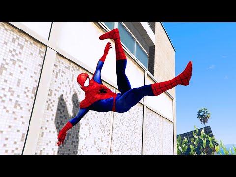 GTA 5 SPIDERMAN PARKOUR FAILS #1 (Funny Moments Euphoria physics)