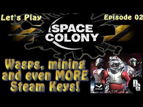 Space Colony Let's Play ► Episode 02 ► Space Bugs and Iron Mining / Steam Key Giveaway!