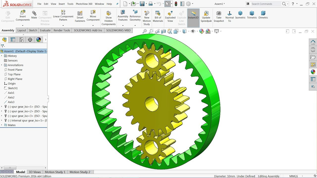 SolidWorks tutorial | Planetary Gear Drive in Solidworks