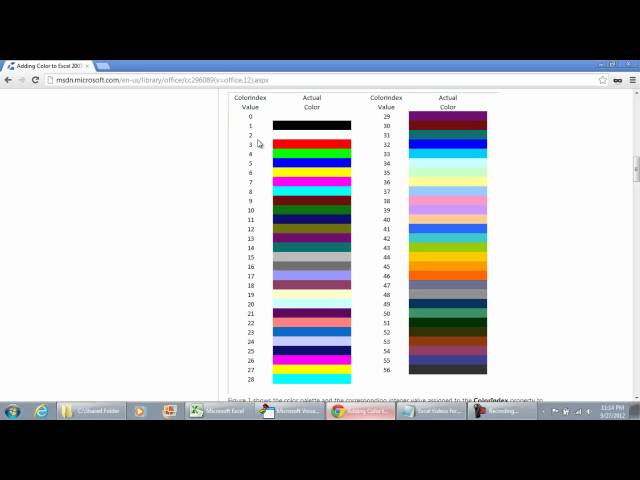 Sddefault furthermore Px Ascii Table Nocolor Svg additionally Vba Figure additionally Shape Bname additionally Shifted Indexes. on excel vba color index 255