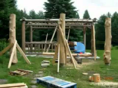 How To Build A Log Gazebo Youtube