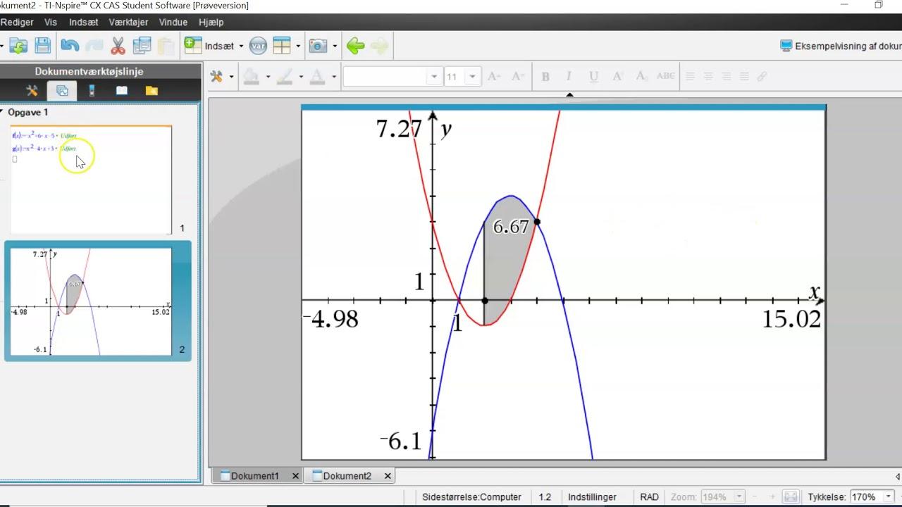 Integralregning: Areal mellem grafer på Ti-nSpire