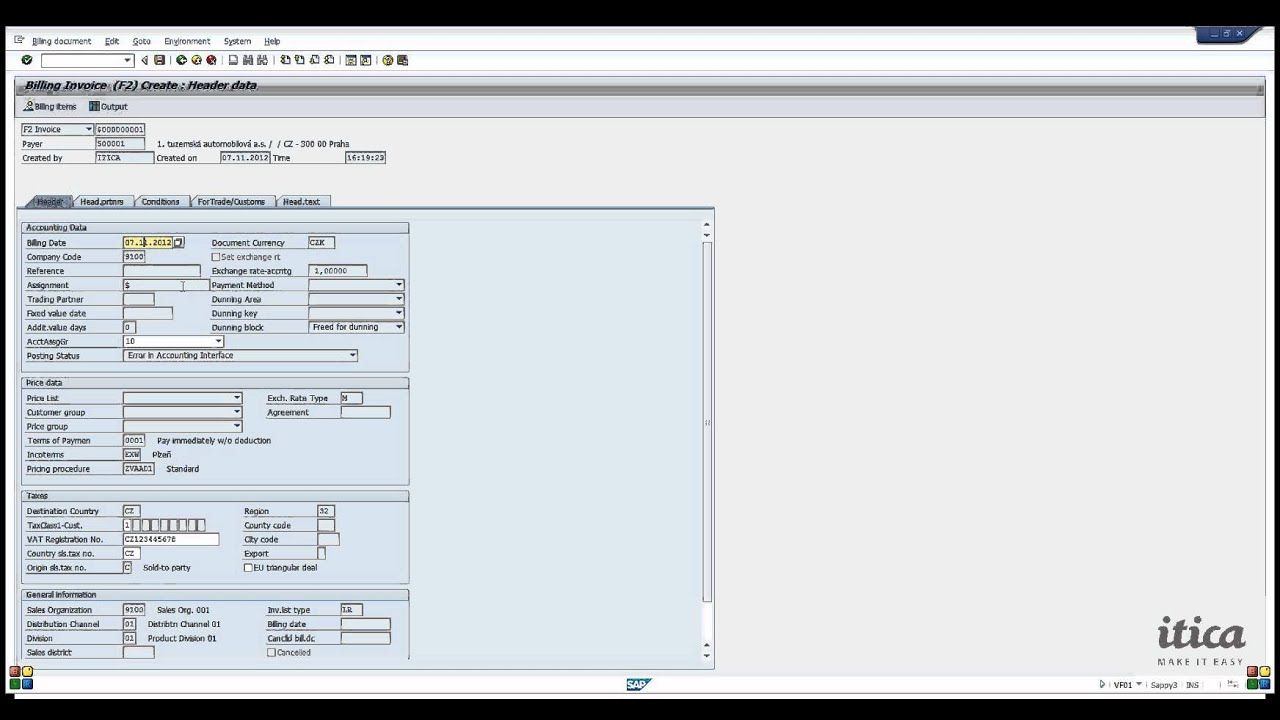sap training itica how to create invoice from sales order and show