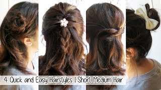 4 Quick & Easy Hairstyles for Short Medium Long Hair l Cute Hairstyles for School and Work