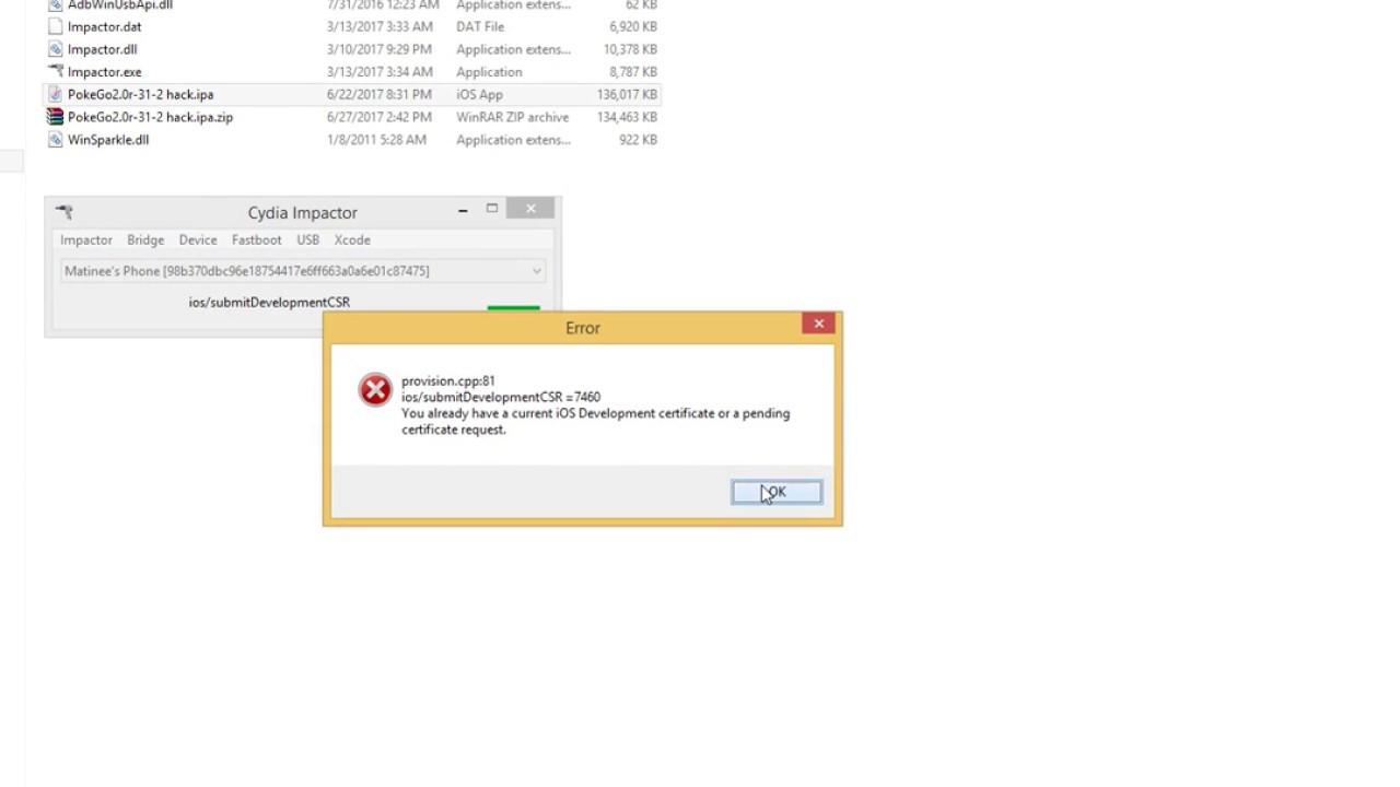 Fixed Cydia Impact submitDevelopmentCSR=7460