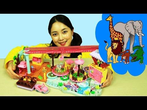 [유라] 장난감(toy)_시크릿쥬쥬 빙글빙글 동물원 사자 기린 펭귄 놀이동산 놀이공원 회전목마 zoo amusement park merry-go-round ドンムロン