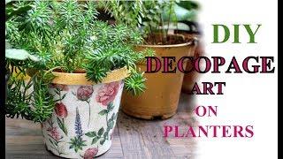 DECOPAGE ART ON PLANTERS