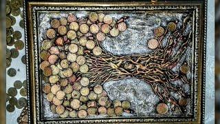 как сделать картину денежное дерево из монет своими руками