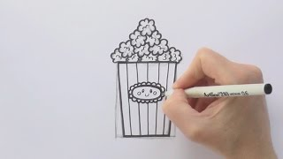 How to Draw a Cartoon Box of Popcorn