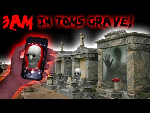 3 AM CHALLENGE DO NOT USE GHOST TRACKER APP IN TOMS GRAVE // CEMETERY GHOST HUNTING GONE WRONG!