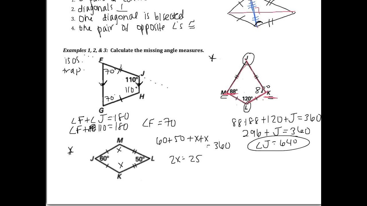 worksheet Properties Of Trapezoids 8 5 use properties of trapezoids and kites youtube kites