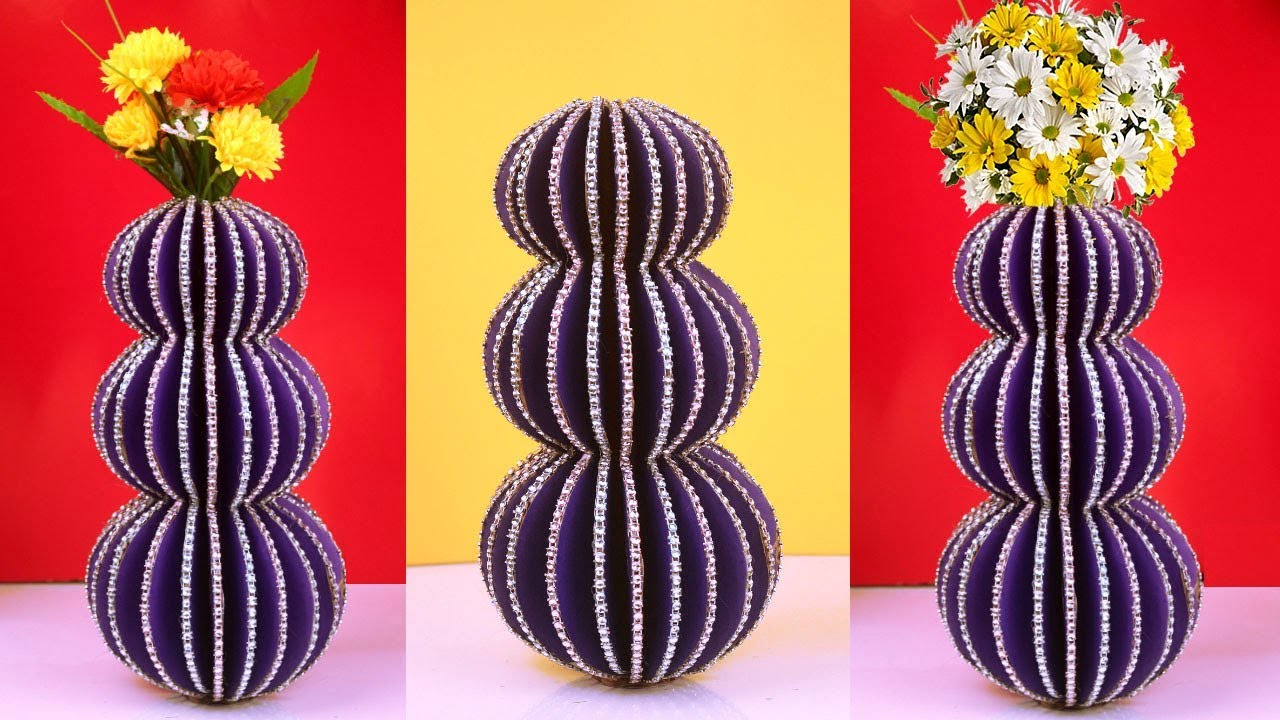 How To Make Flower Vase Out Of Cardboard At Home Easy Diy Beautiful Best Waste Craft