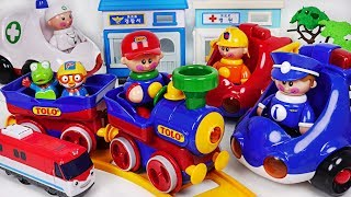 Tolo police car, ambulance, fire truck, train All Together! #PinkyPopTOY
