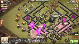 Clash of clans Town Hall 9 3 star war attacks using Golem Wizard Lavahound and Balloons