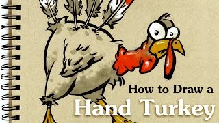 How to Draw a Hand Turkey - Thanksgiving Sketch