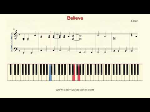 """How To Play Piano: Cher """"Believe"""" Piano Tutorial by Ramin Yousefi"""