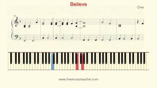 "How To Play Piano: Cher ""Believe"" Piano Tutorial by Ramin Yousefi"